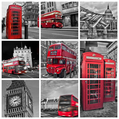 Collage monochrome Londres (UK) © Delphotostock