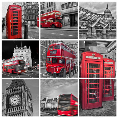 Aluminium Rood, zwart, wit Collage monochrome Londres (UK)