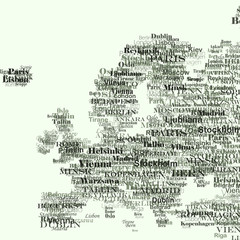 Europe silhouette made from capitals names