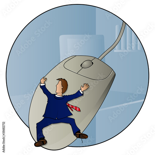 Man hanging onto a giant mouse while wearing a suit