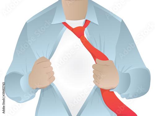 Man opening his shirt/business man revealing his secret identity
