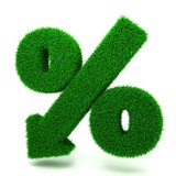 Beautiful Spring Percent Sign from Grass  Denoting a Decrease poster