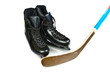 Hockey skates and stick