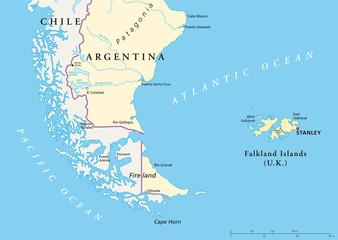 Feuerland und Falkland Inseln Landkarte