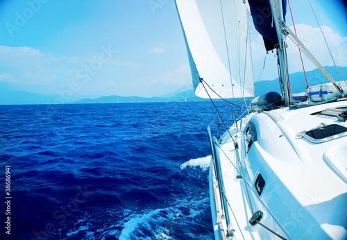 Yacht Sailing. Sailboat