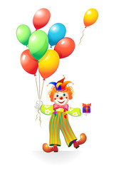 funny clown with ballons