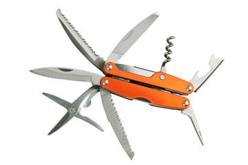 Orange set of tools as knives, scissors, corkscrew, opener