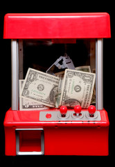 American money in a grabbing machine
