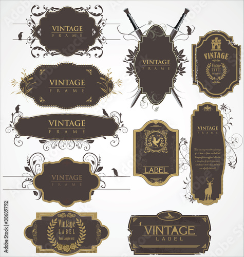Vector set of vintage frames
