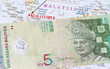 Malaysian money in a map