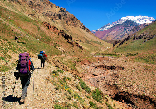 Hikers trekking in South America