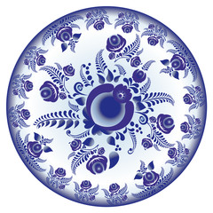 dish with a blue
