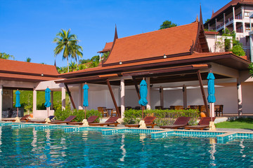 Swimming pool in spa resort . Thailand .