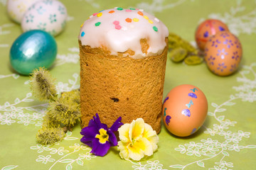 Easter cake  and colored easter eggs