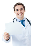 Doctor with signboard, isolated