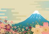 富士山と桜の背景 - 38694332