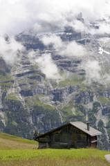 Schwarzmonch rockface of Jungfrau mountain above Swiss farm