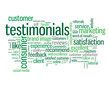 """TESTIMONIALS"" Tag Cloud (satisfaction reviews users button)"