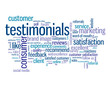 """TESTIMONIALS"" Tag Cloud (satisfaction survey comments button)"
