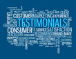 """TESTIMONIALS"" Tag Cloud (satisfaction customers survey button)"