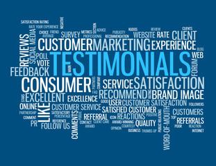 """TESTIMONIALS"" Tag Cloud (satisfaction customers survey button)"