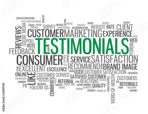 TESTIMONIALS Tag Cloud (satisfaction like survey reviews button)