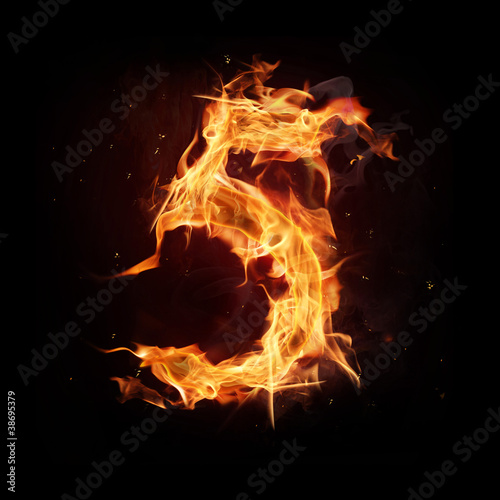 "Fire alphabet number ""5"""