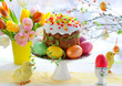 Easter cake and colourful eggs