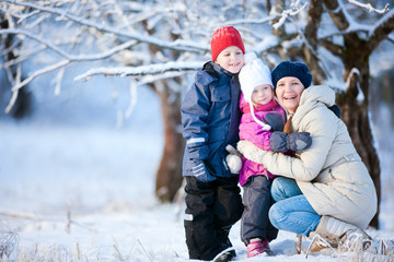 Family outdoors at winter