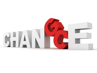 white concept word CHANCE CHANGE with the red letter C and G