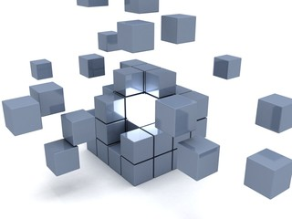 One individuality light cube in center of gray team