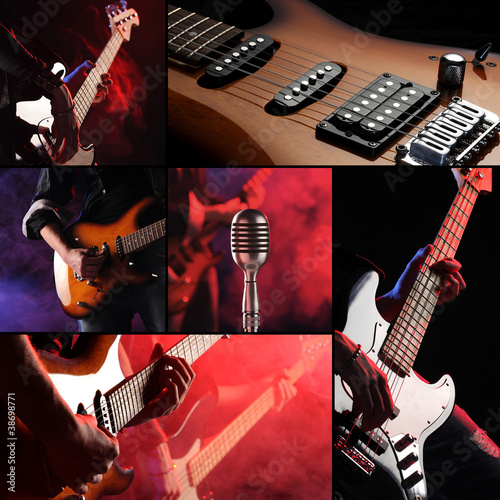 rock live concert collage