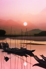 sunset at Mae Khong river