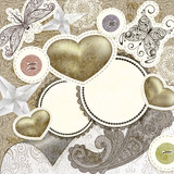 Fototapety vector vintage scrap template design with hearts, for valentine'