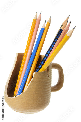 Pencils in Broken Mug