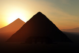 Mystic Egyptian Pyramid Scene Sunset 3D render