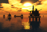 Fototapety Sea Oil Platforms and Tanker in the Sunset 3D render