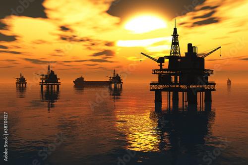 Meeresöl-Plattformen und Tanker im Sonnenuntergang 3D übertragen