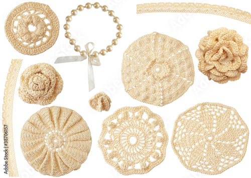 set of crochet handmade motifs isolated on white
