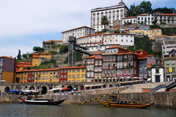 "Ribeira and wine boats(""Rabelo"") on River Douro, Porto, Portugal"