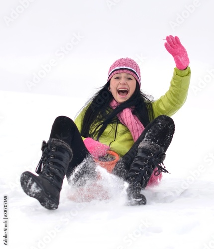 woman sledding