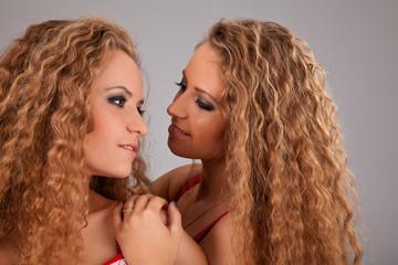 Two sisters twin women friends