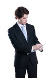 young businessman making notes