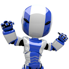 Cute Blue Robot Angry or Flexing Muscles