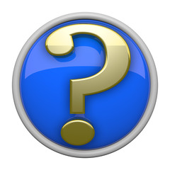 Question Mark Icon, Blue and Gold