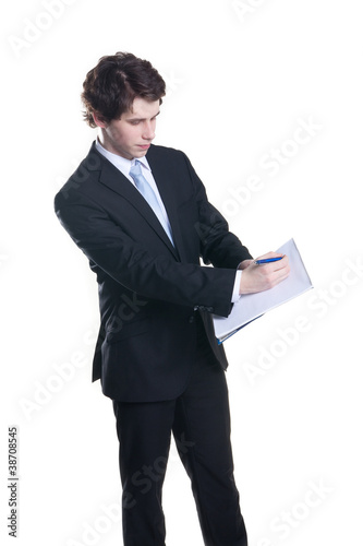 businessman making notes