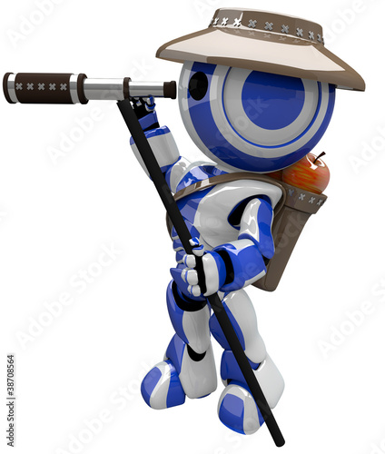 Cute Blue Robot Hiker Explorer