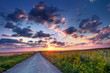 Colorful summer sunrise in the countryside with road