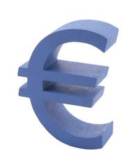 Blue euro symbol isolated on white