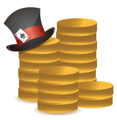 stack of coins and lucky hat illustration design over white